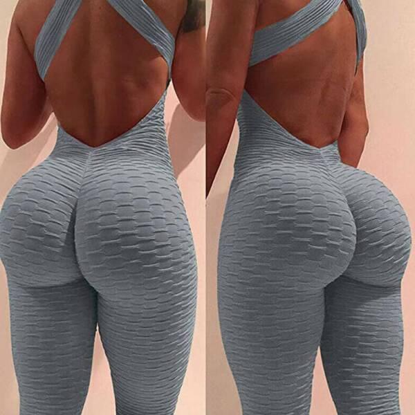 Damen Anti-Cellulite Overall Ärmellos Romper Jumpsuit Yoga Hose Fitness Leggings