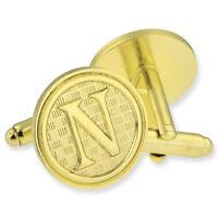 Letter N Alphabet Initials Cufflink Set Gold Or Silver