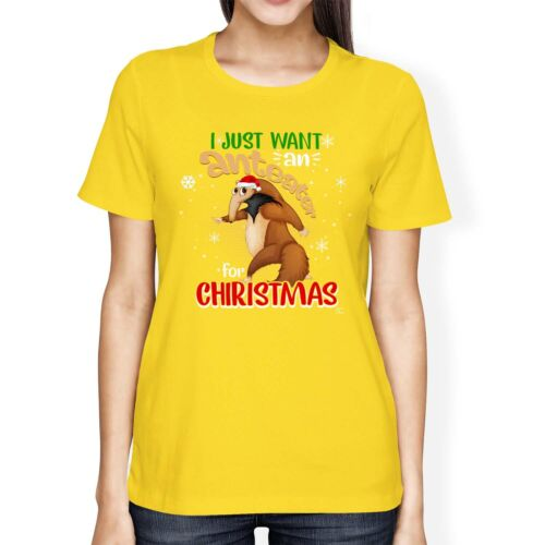 1Tee Womens Loose Fit I Just want an Anteater for Christmas T-Shirt
