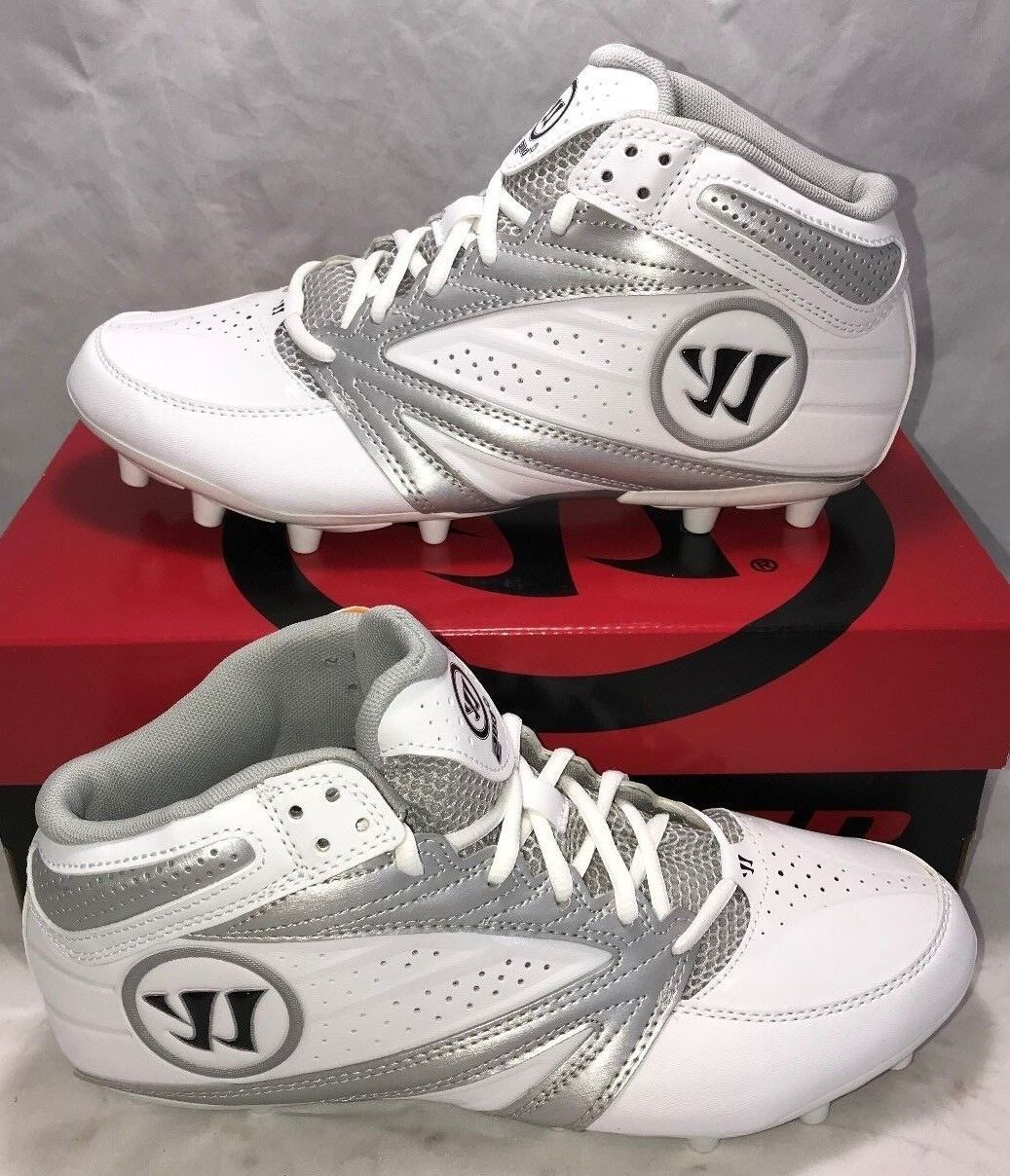 Warrior Mens Size 11 Second Degree 3.0 Lacrosse Lax Cleats White Silver