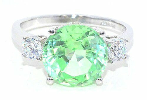 4 Ct Green Sapphire /& White Topaz Round Ring .925 Sterling Silver