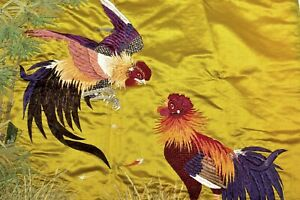 1930's Japanese Silk Embroidery Panel Chinese Style Fighting Rooster Textile