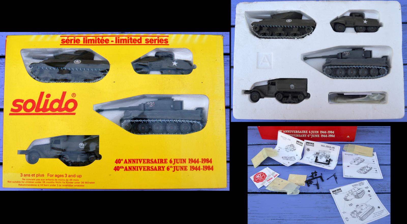Solido coffret 4 véhicules (M4 Sherman, Tigre, M20, half-track M3) 40e anniv. 19