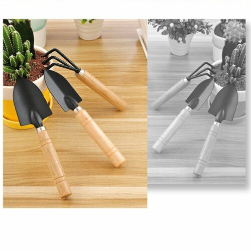 1 Set Spade Plant Tool Wooden 3pcs Handle Garden Tools Shovel Trowel Rake