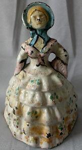Antique Cast Iron Victorian Women Enamel 3d Lady Figurine