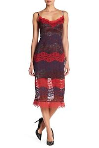 46af730cb5 NSR NWT Floral Lace Scalloped Wide V-Neck Midi Dress Red and Blue ...