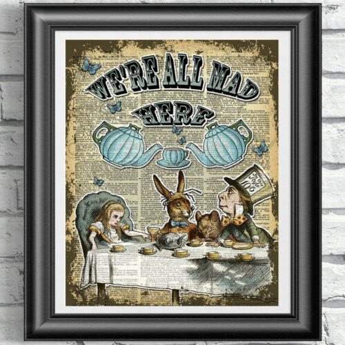 ART PRINT ON ORIGINAL ANTIQUE BOOK PAGE 5 Alice in Wonderland Dictionary
