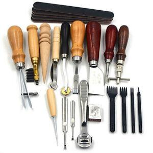 18-Stueck-Leder-Handwerk-Hand-Naehte-Naeh-Werkzeug-Set-DIY-Kit-Naehzeug-Zubehoer-Tool