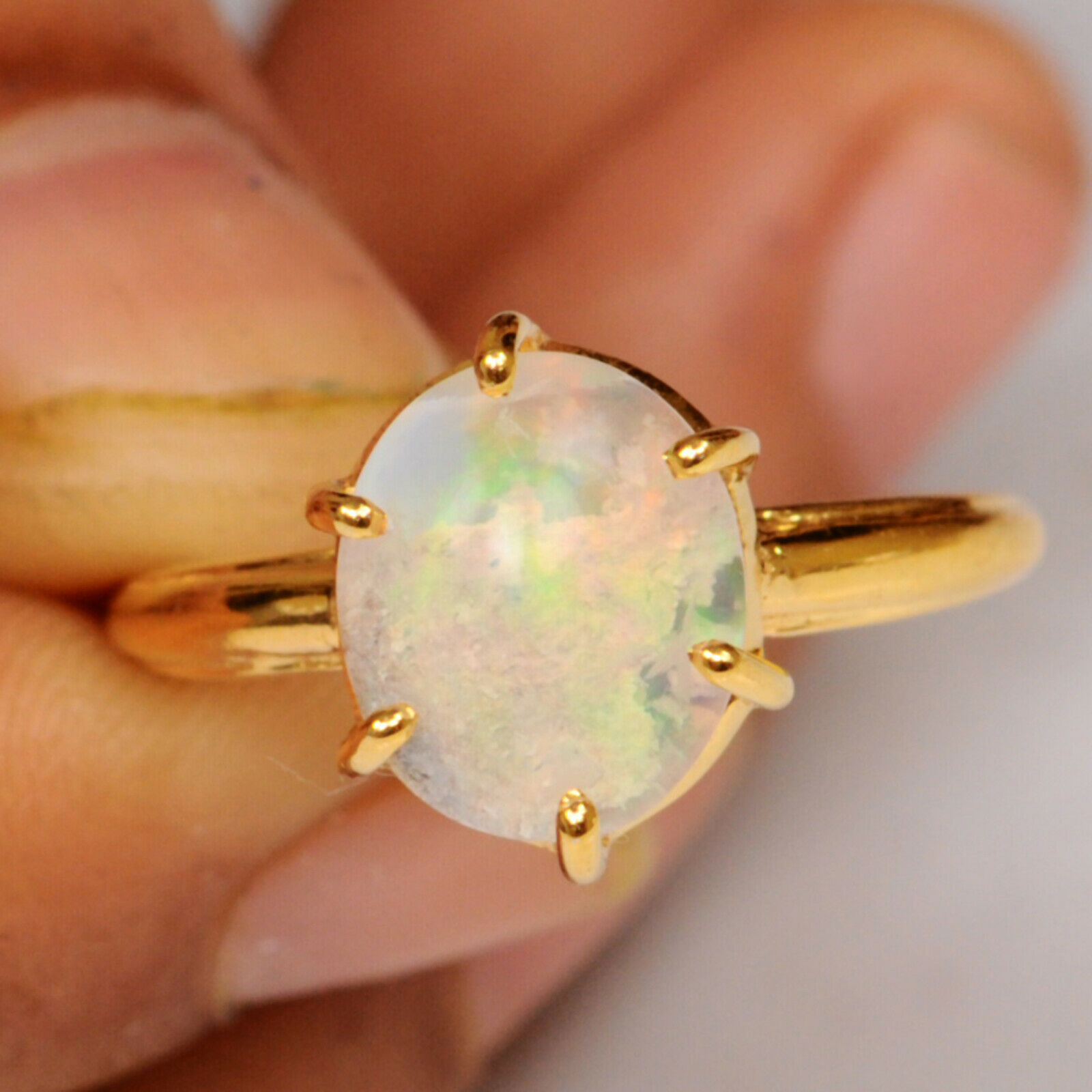 7890fda26c6be Oval gold Yellow 14KT Real Ethiopian Natural 100% Cut Opal Ring ...