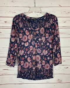 Lucky-Brand-Women-039-s-M-Medium-Navy-Blue-Floral-Smocked-Soft-Top-Blouse-Shirt-Tee