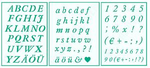 3er Schablonen Set Nr.23 Kursive Buchstaben und Zahlen ABC Schriftschablonen