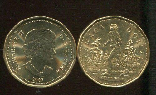 "CANADA 1 DOLLAR 2005 LOONIE /""TERRY FOX MARATHON OF HOPE/"" COINS UNC"