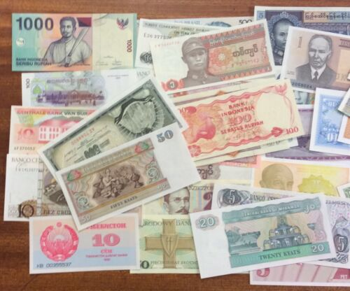 Selection of 42 Uncirculated World Banknotes All different Good Range