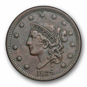 1838-1C-Coronet-Head-Large-Cent-ANACS-EF-40-N-7-Extra-Fine-XF-Old-Small-Holder