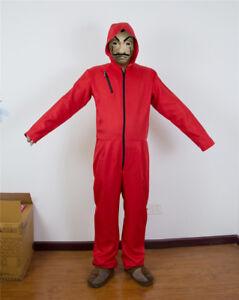 casa de papel costume  La Casa De Papel Costume Red Bodysuit Hoodie Jumpsuit Money Heist ...