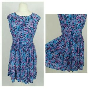 Boden Blue Pink Floral Kitsch Ruched Smart Floaty Fit & Flare Dress Size 12 p