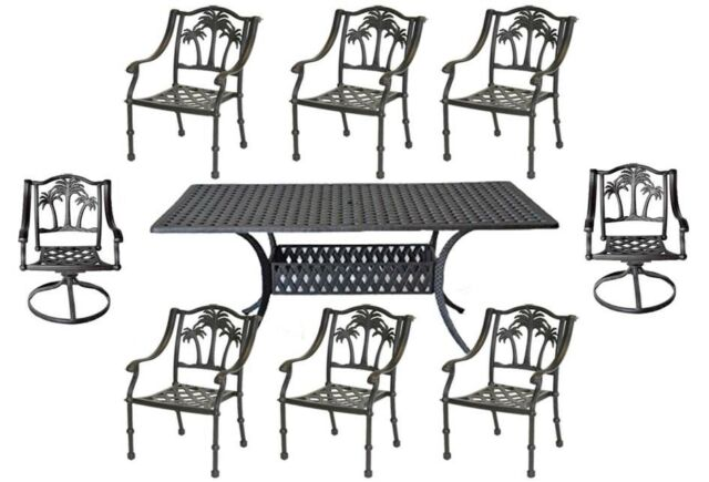 8 Person Patio Dining Set Palm Tree Chairs With Nassau Rectangular