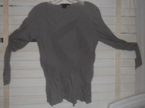 Babette Sf Art To Wear Taupe Quirky Stretchy Cotton Ls Sweater
