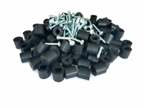 """Set of 25 Amp//Cabinet Rubber Feet 13//16/"""" X 13//16/"""" screws,metal washers built-in"""