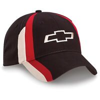 Chevrolet Chevy Bowtie Tri-color Licensed Cotton Black Hat Stripes