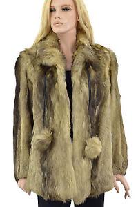 1-950-Marron-Beige-Creme-Smokey-Fox-Fur-Coat-Veste-Taille-M