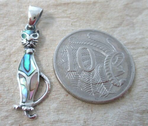 925 STERLING SILVER Paua Shell Abalone Siamese CAT Lover Gift Pendant Women Teen
