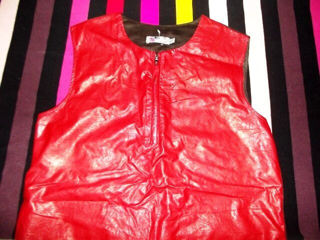 CHERRY CHERRY CHERRY DESIGN ROBE DRESS POP ROCK  FAUX CUIR  ET DAIM ZIP T2 OU 42 44 b4944b