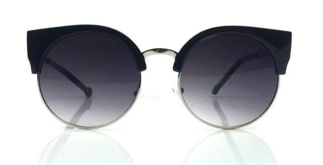 Vintage Retro Fashion Round Circle Women Lucia Black Cat Eye Lady Sunglasses