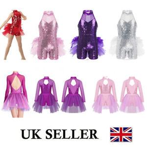 Sequins-Girls-Jazz-Ballet-Leotard-Dance-Dress-Latin-Tutu-Skirt-Dancewear-Costume