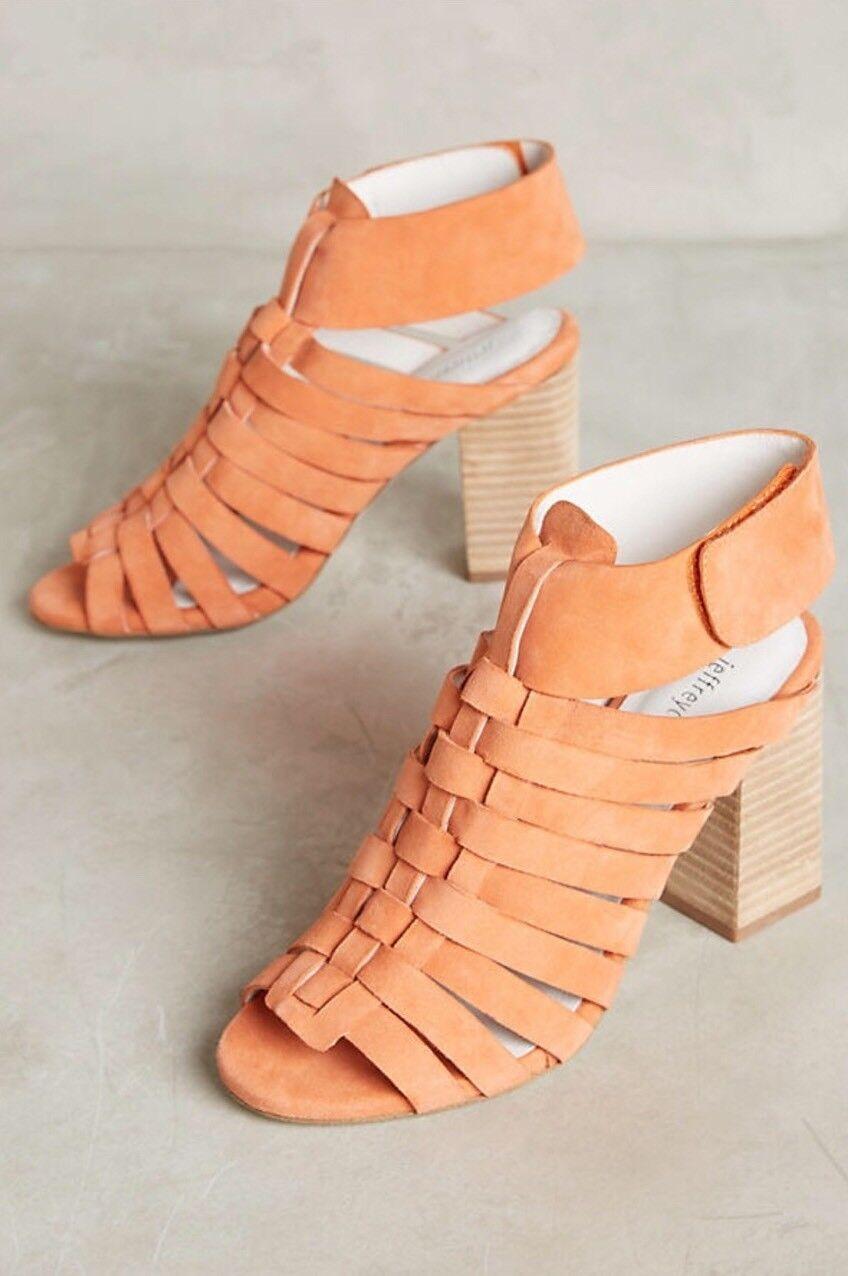 NEW Jeffrey Campbell Sinaloa Strappy Block Heels Größe 7.5 & 8.5 Peach Suede