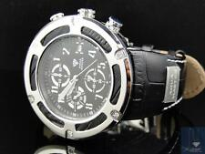Hot Mens Aqua Master Jojo Jojino Joe Rodeo Black Leather Band Diamond Watch W346
