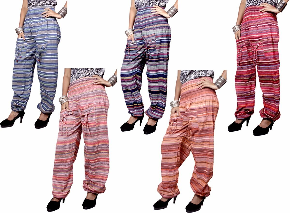 Apparels India 5pcs Aladdin Harem Striped Hippie Balloon Pants USA Wholesale Lot