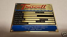 Truscott Boat Data Plate Acid Etched Brass St. Joseph Michigan