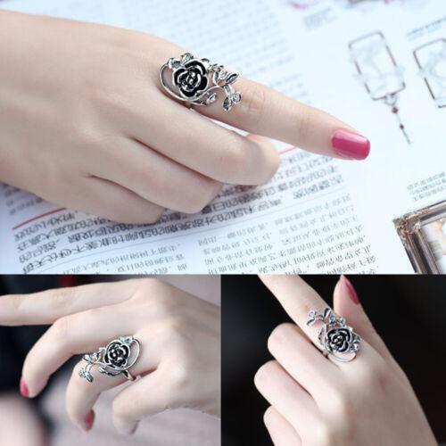 Fashion Rose Flower Leaf Vine Rings Women Floral Finger Ring Vintage Jewelry