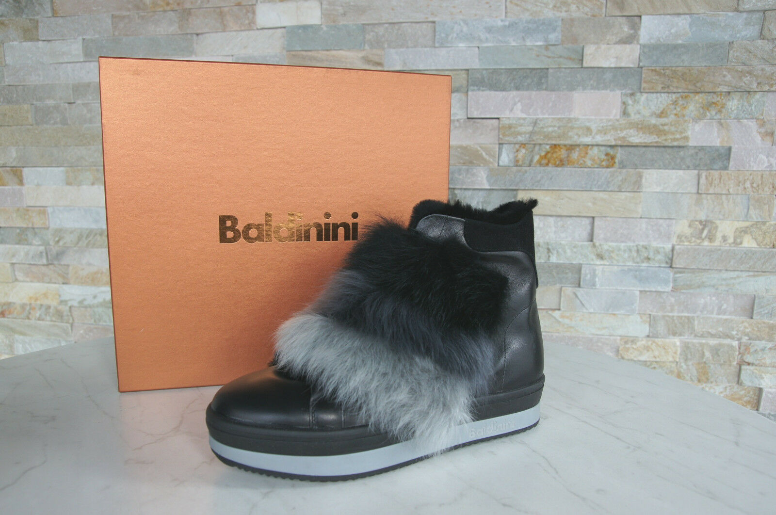 Baldinini Gr booties 37 Stiefeletten Fell booties Gr Schuhe schwarz NEU de2663