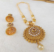 South Indian Ethnic Jewelry Gold Plated Pearl Necklace Earrings Pearl Bridal Set