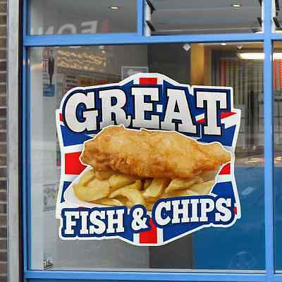 Fish & Chips Great British Cafe Catering Sign Window Stickers Graphics Decal