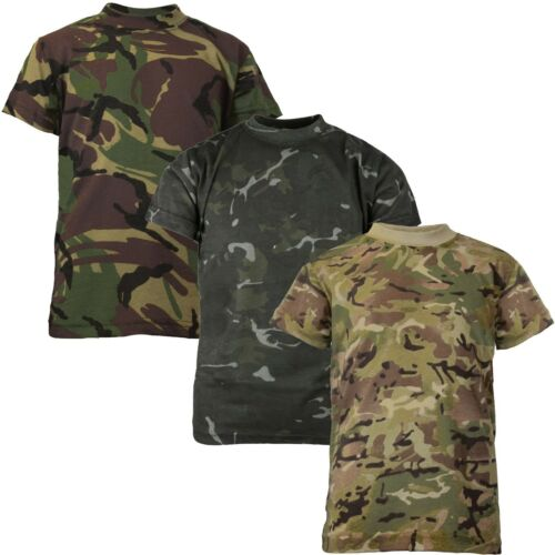 Boys Soldier Camo Print T-Shirt British Army Military Combat Cotton 3-13 Years