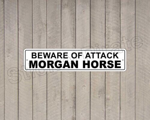 """*Aluminum* Beware Of Attack Morgan Horse  4/"""" x 18/"""" Funny Metal Novelty Sign"""