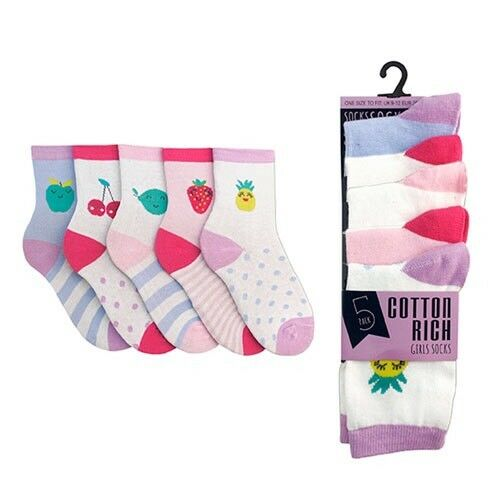 10 Pair Special Offer 9-12 Sized Girls Cotton Rich Fruit Design Socks