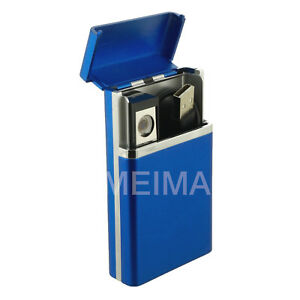 USB-Rechargeable-Windproof-Flameless-Electric-Coil-Lighter-w-Cigarette-Case