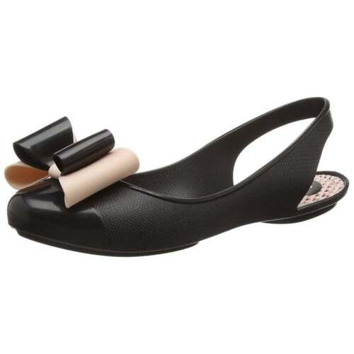 Womens Zaxy Gift Bow Sling Back Flat Jellie Ballerina Work Shoe Navy Black Size