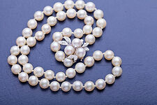 """Antique 1950s $2400 14k White Gold Diamond 7mm Cultured Pearl 16"""" Necklace"""