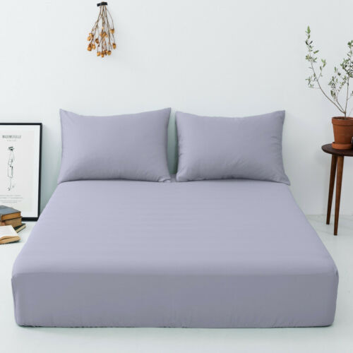Free Pillow Extra Deep 40cm 16/'/'Fitted BEDSHEETS Single Double King Super King