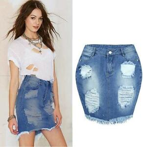 Women-Denim-Skirt-Jeans-High-Waist-Ripped-Vintage-Skinny-Hole-Short-Pencil-Skirt