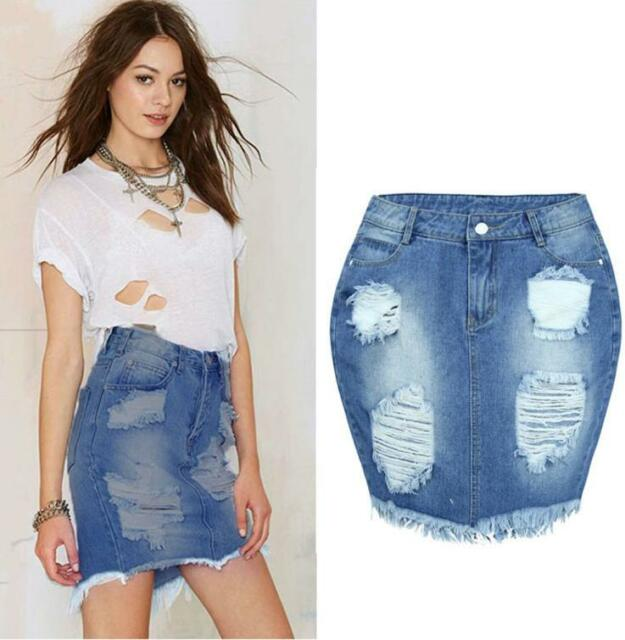 Women Denim Skirt Jeans High Waist Ripped Vintage Skinny Hole Short Pencil Skirt