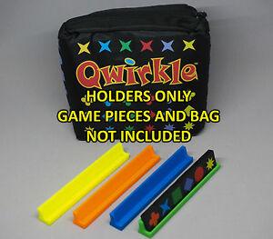 Set of 4 VARIOUS colors Qwirkle Domino Scrabble Upwords Tile Tray Holder