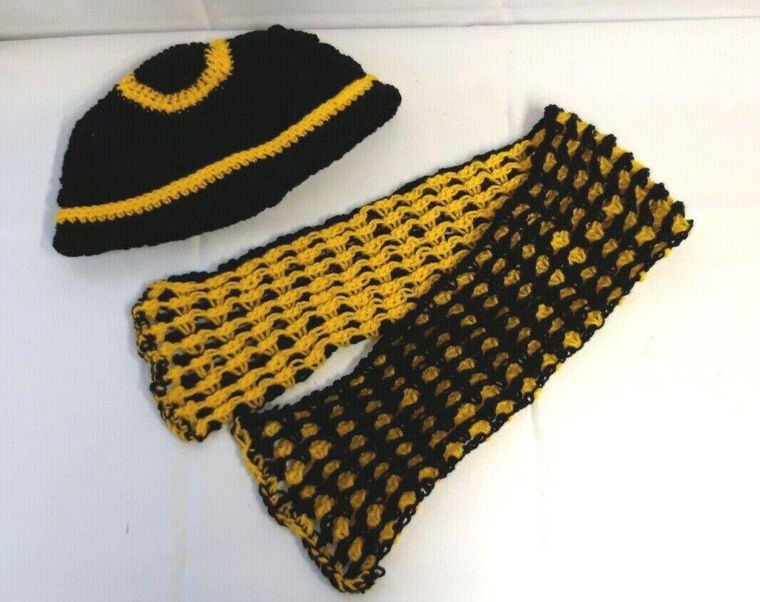Lovely Ladies Cornish Black & Gold Crochet Hat & Scarf Set Handmade in Cornwall