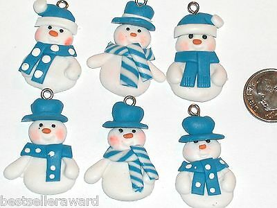 6pc. Lot Christmas Snowman cookie ornament charm bead miniature findings