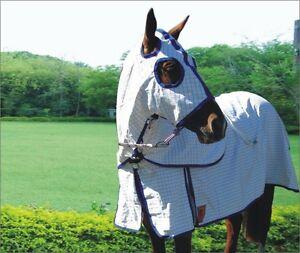 Capriole-Ripstop-Cotton-Rose-amp-R-Blue-Summer-Horse-Rug-amp-Hood-Set-Combo